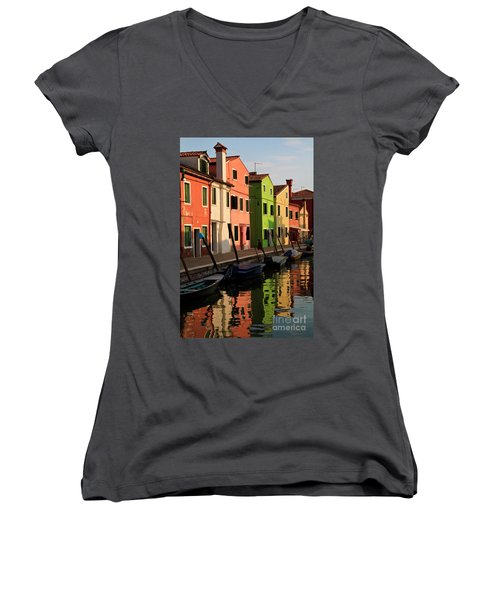 Women's V-Neck T-Shirt (Junior Cut) featuring the photograph Burano Reflections by Dennis Hedberg