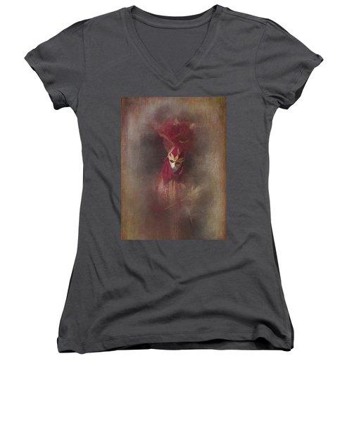 Burgundy In Venice Women's V-Neck T-Shirt