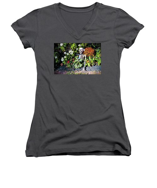 Women's V-Neck T-Shirt (Junior Cut) featuring the photograph Buried Alive - Skeleton Garden by Colleen Kammerer