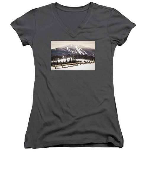 Burke Mountain And Fence Women's V-Neck