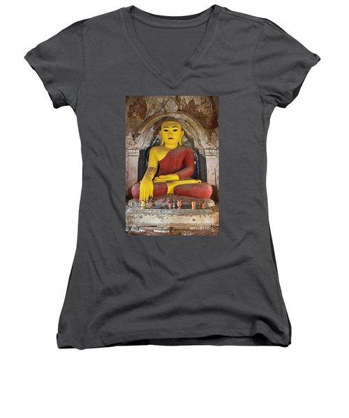 Women's V-Neck T-Shirt (Junior Cut) featuring the photograph Burma_d1150 by Craig Lovell
