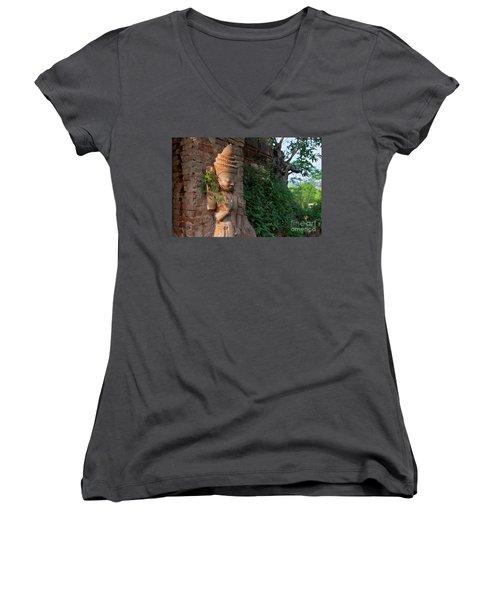 Women's V-Neck T-Shirt (Junior Cut) featuring the photograph Burma_d195 by Craig Lovell
