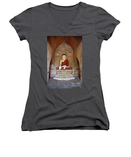 Burma_d2078 Women's V-Neck T-Shirt (Junior Cut) by Craig Lovell