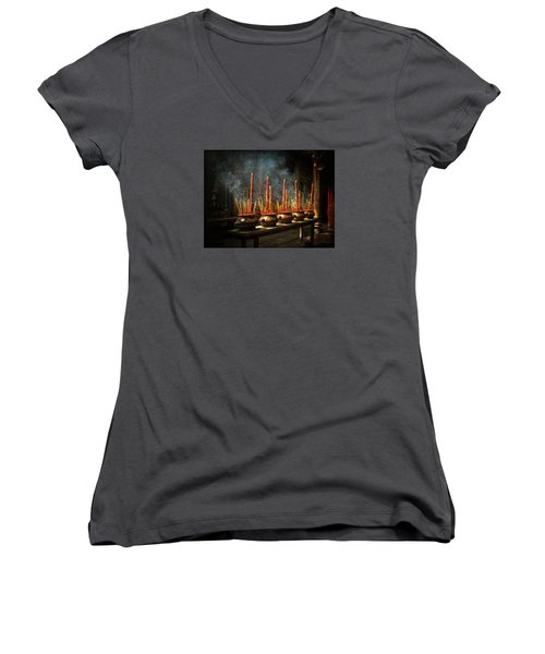 Women's V-Neck T-Shirt (Junior Cut) featuring the photograph Burning Incense by Lucinda Walter