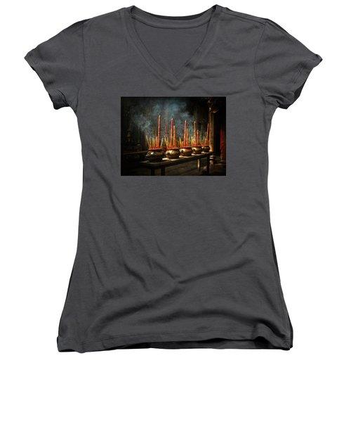 Burning Incense Women's V-Neck