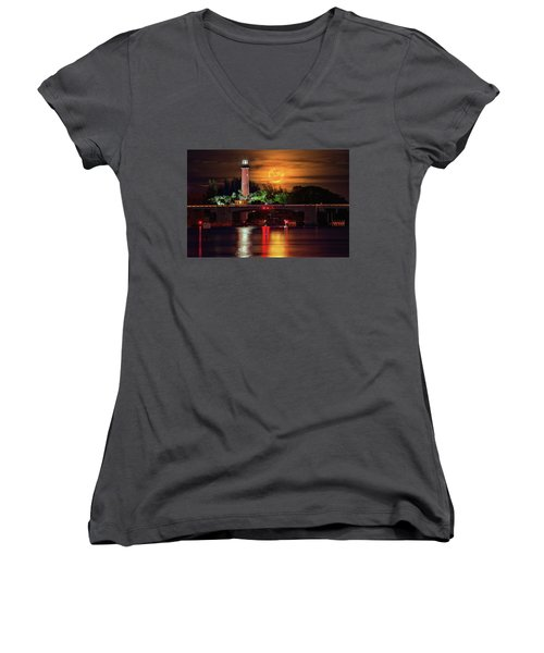 Women's V-Neck T-Shirt (Junior Cut) featuring the photograph Burning Moon Rising Over Jupiter Lighthouse by Justin Kelefas