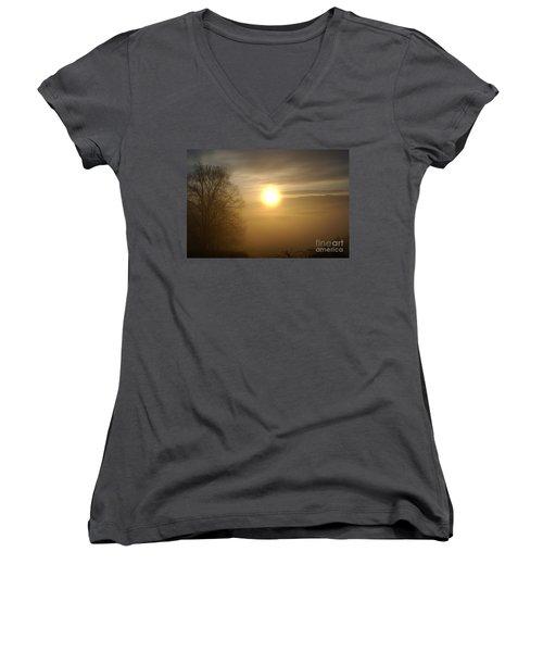 Burning Off The Fog Women's V-Neck T-Shirt (Junior Cut) by Annlynn Ward