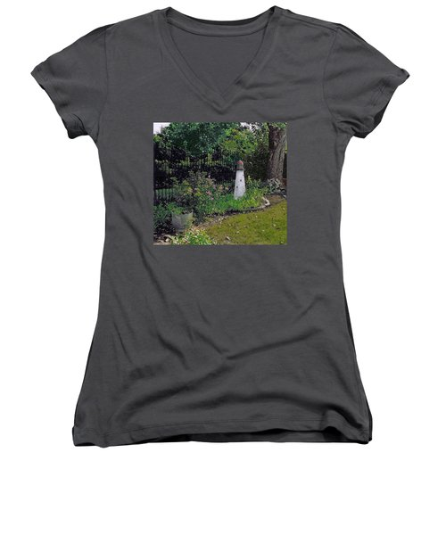 Burnside Garden Lighthouse Women's V-Neck T-Shirt (Junior Cut) by Cedric Hampton