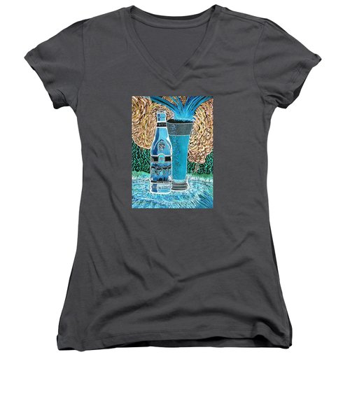 Women's V-Neck T-Shirt (Junior Cut) featuring the painting Burr Hyfe Gone Real Cold by Connie Valasco