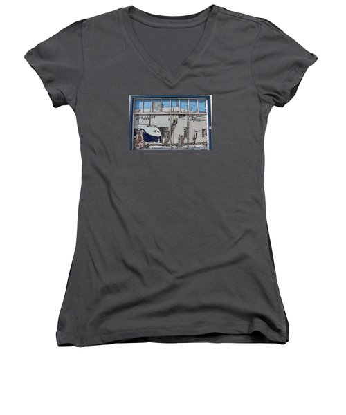 Vintage Bus Depot Sign Women's V-Neck T-Shirt