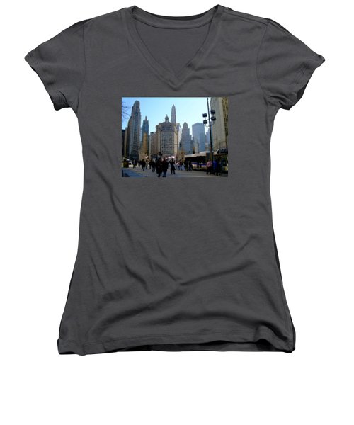 Bus On Miracle Mile  Women's V-Neck