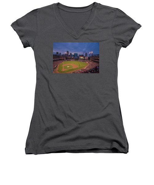 Busch Stadium St. Louis Cardinals Ball Park Village Twilight #3c Women's V-Neck T-Shirt (Junior Cut) by David Haskett