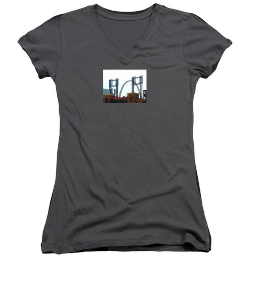 Busch Stadium With Arch Women's V-Neck (Athletic Fit)