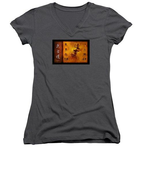 Bushido Way Of The Warrior Women's V-Neck T-Shirt (Junior Cut) by John Wills