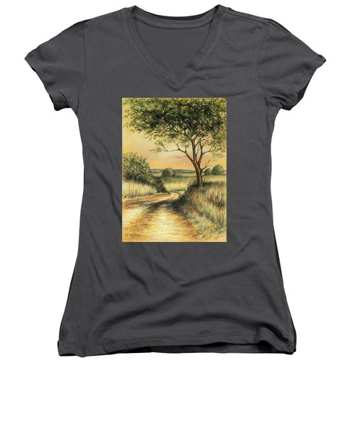 Women's V-Neck T-Shirt (Junior Cut) featuring the drawing Bushveld by Heidi Kriel