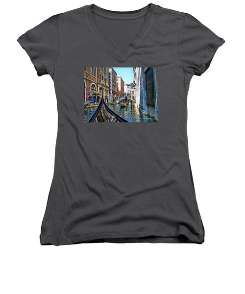 Women's V-Neck T-Shirt (Junior Cut) featuring the photograph Busy Canal by Roberta Byram