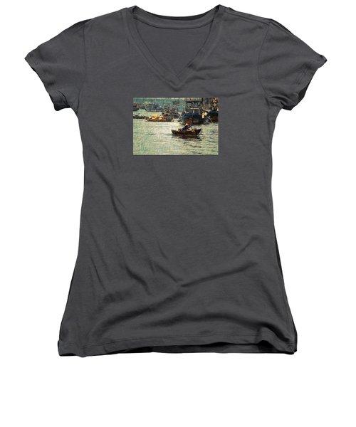 Women's V-Neck T-Shirt (Junior Cut) featuring the digital art Busy Hoi Ahn Dawn by Cameron Wood