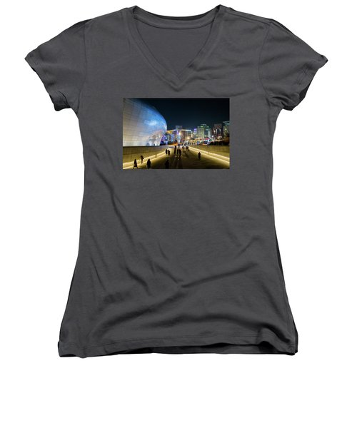 Busy Night Women's V-Neck T-Shirt (Junior Cut) by Hyuntae Kim