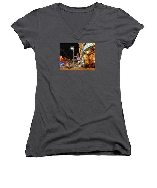Women's V-Neck T-Shirt (Junior Cut) featuring the photograph Busy View Northbeach San Francisco by Steve Siri