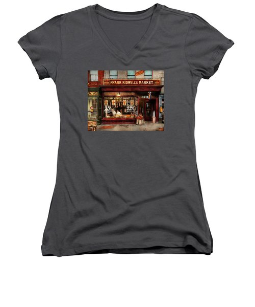 Women's V-Neck T-Shirt (Junior Cut) featuring the photograph Butcher - Meat Priced Right 1916 by Mike Savad