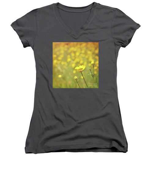 Buttercups Women's V-Neck T-Shirt (Junior Cut) by Lyn Randle