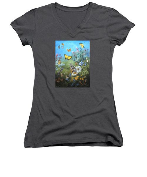 Women's V-Neck T-Shirt (Junior Cut) featuring the painting Butterflies And Wildflowers Of Wyoming by Dawn Senior-Trask