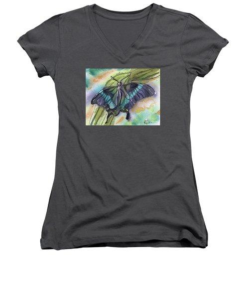 Butterfly Bamboo Black Swallowtail Women's V-Neck T-Shirt (Junior Cut) by D Renee Wilson
