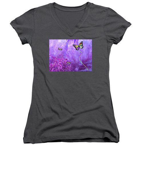 Butterfly Fantasy Women's V-Neck (Athletic Fit)