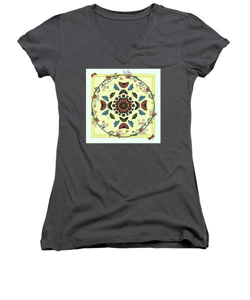 Women's V-Neck T-Shirt (Junior Cut) featuring the digital art Butterfly Garden Abstract by Deborah Smith