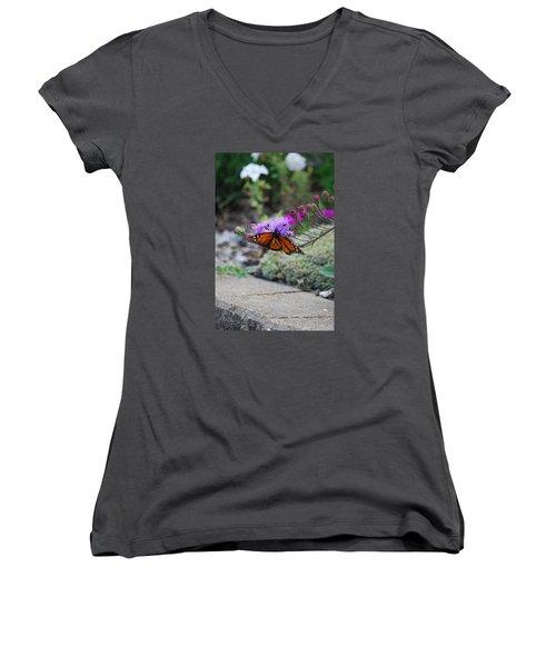 Women's V-Neck T-Shirt (Junior Cut) featuring the photograph Butterfly Garden by Ramona Whiteaker
