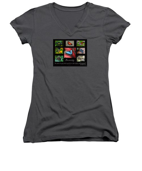 Butterfly Generosity Collage Women's V-Neck T-Shirt (Junior Cut) by Diane E Berry
