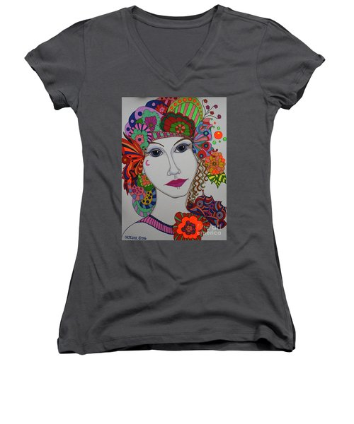 Butterfly Girl Women's V-Neck T-Shirt (Junior Cut) by Alison Caltrider