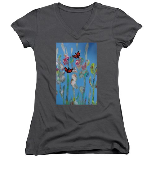 Butterfly Glads Women's V-Neck (Athletic Fit)