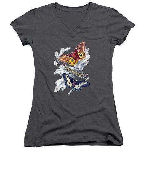 Butterfly Moth T Shirt Design Women's V-Neck T-Shirt (Junior Cut) by Bellesouth Studio