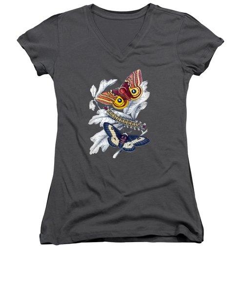 Butterfly Moth T Shirt Design Women's V-Neck