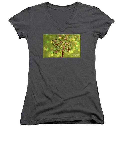 Butterfly Of Heart Tree Women's V-Neck (Athletic Fit)