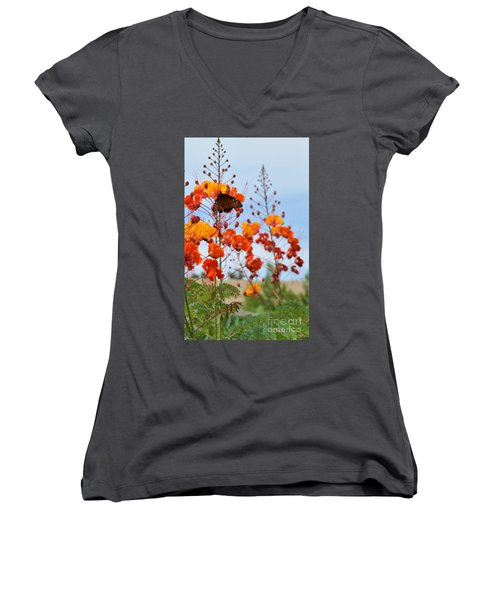 Butterfly On Bird Of Paradise Women's V-Neck
