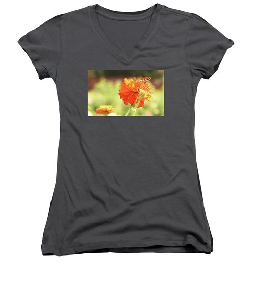 Women's V-Neck T-Shirt (Junior Cut) featuring the photograph Butterfly Peek-a-boo by Donna G Smith