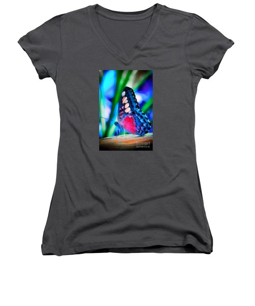 Butterfly Realistic Painting Women's V-Neck