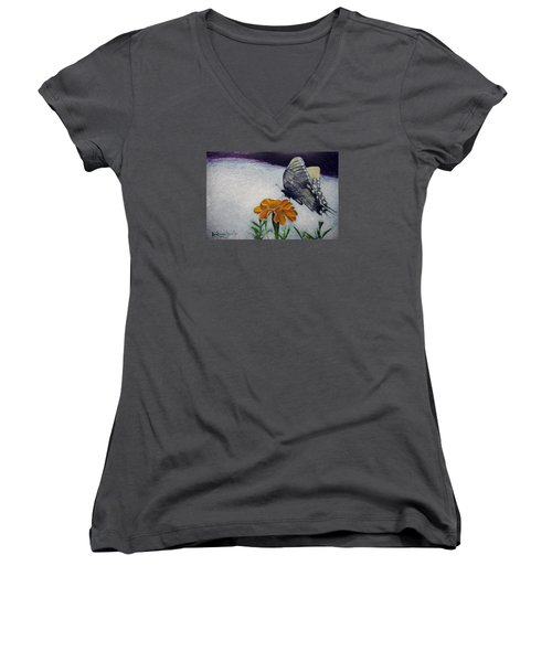 Women's V-Neck T-Shirt (Junior Cut) featuring the painting Butterfly by Ron Richard Baviello