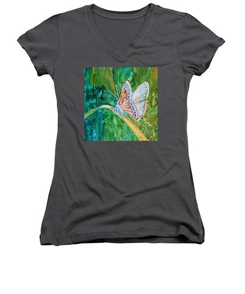 Butterfly Women's V-Neck T-Shirt (Junior Cut) by Ruth Kamenev