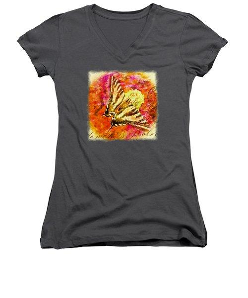 Butterfly T - Shirt Print Women's V-Neck T-Shirt