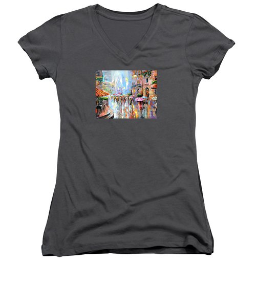 Buzy City Streets Women's V-Neck T-Shirt (Junior Cut) by Tim Gilliland
