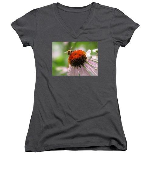 Buzzing The Coneflower Women's V-Neck T-Shirt (Junior Cut) by Kimberly Mackowski