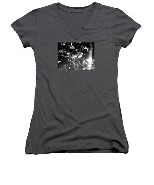 Women's V-Neck T-Shirt (Junior Cut) featuring the photograph Bw Spider Phenomena by Megan Dirsa-DuBois