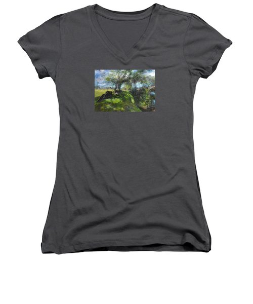 Women's V-Neck T-Shirt (Junior Cut) featuring the pastel By The Dee by Harry Robertson