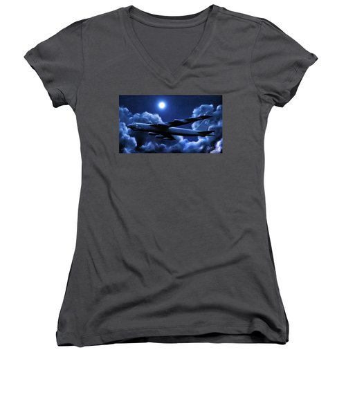 Women's V-Neck T-Shirt (Junior Cut) featuring the painting By The Light Of The Blue Moon by Dave Luebbert