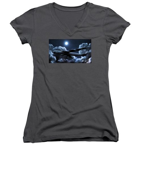 Women's V-Neck T-Shirt (Junior Cut) featuring the painting By The Light Of The Silvery Moon by Dave Luebbert