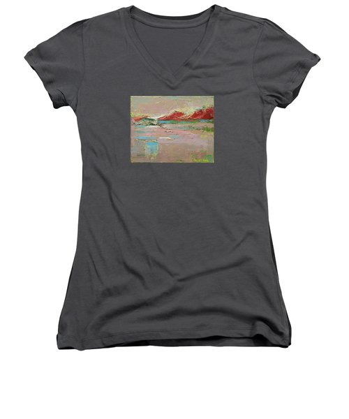 By The River Women's V-Neck T-Shirt (Junior Cut) by Becky Kim