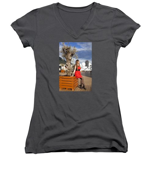 By The Tree Of Temptation Women's V-Neck T-Shirt